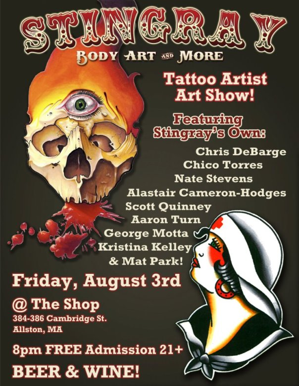 TONIGHT STINGRAY TATTOO ALLSTON TATTOO ARTIST SHOW